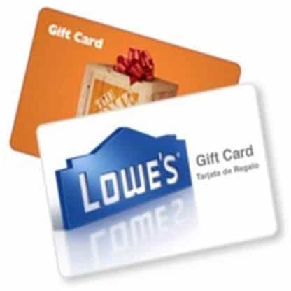 $500 Lowes or Home Depot Gift Card